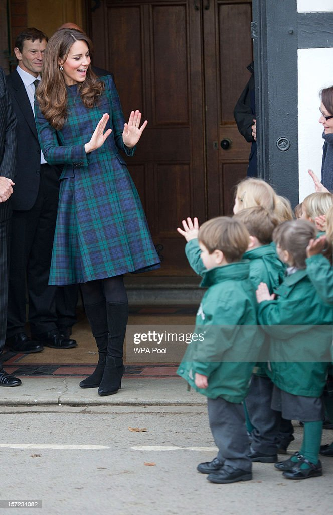 Catherine, Duchess of Cambridge Visits St Andrew's School : News Photo