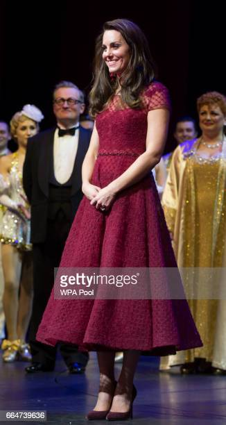 Catherine Duchess of Cambridge takes part in a presentation during the Opening Night Royal Gala performance of '42nd Street' in aid of the East...