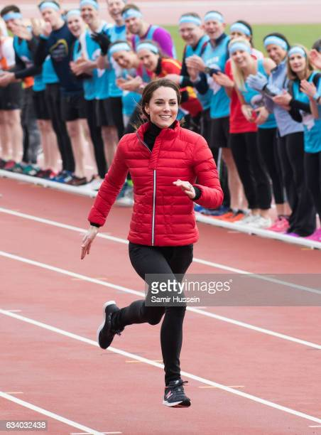 Catherine, Duchess of Cambridge takes part in a race at a training day for the Heads Together team for the London Marathon at Olympic Park on...