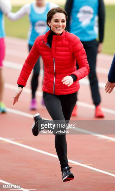 Catherine Duchess of Cambridge takes part in a running race against Prince William Duke of Cambridge and Prince Harry as they join a Team Heads...