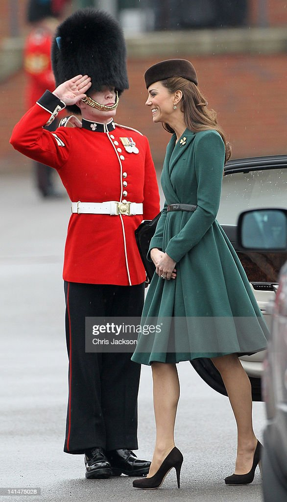 Catherine, Duchess of Cambridge takes part in a St Patrick's Day parade as she visits Aldershot Barracks on St Patrick's Day on March 17, 2012 in Aldershot, England. The Duchess presented shamrocks to the Irish Guards at a St Patrick's Day parade during her visit.