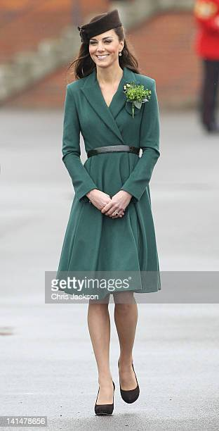Catherine Duchess of Cambridge takes part in a St Patrick's Day parade as she visits Aldershot Barracks on St Patrick's Day on March 17 2012 in...