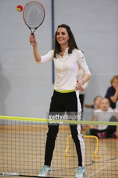 Catherine, Duchess of Cambridge takes part in a tennis workshop with Andy Murray's mother Judy at Craigmount High School in Edinburgh on February 24,...