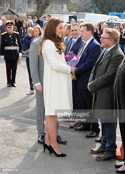Catherine Duchess of Cambridge takes part in an official visit to the set of Downton Abbey at Ealing Studios on March 12 2015 in London England