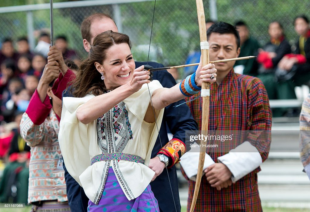 Catherine, Duchess of Cambridge takes part in archery at Thimphu's open-air archery venue on April 14, 2016 in Thimphu, Bhutan.