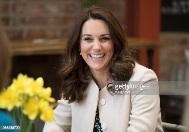 Catherine Duchess of Cambridge takes part in preparations for a Commonwealth Big Lunch at St Luke's Community Centre on March 22 2018 in London...