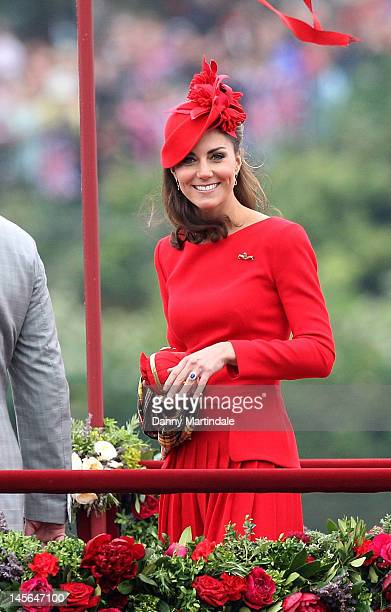 Catherine Duchess of Cambridge takes part in The Thames River Pageant as part of the Diamond Jubilee marking the 60th anniversary of the accession of...