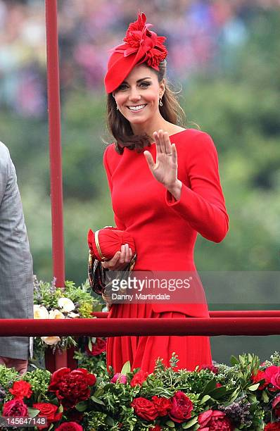 Catherine, Duchess of Cambridge takes part in The Thames River Pageant, as part of the Diamond Jubilee, marking the 60th anniversary of the accession...