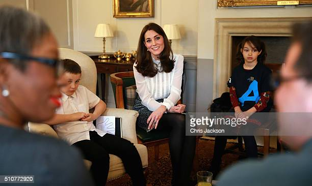 Catherine, Duchess of Cambridge talks to children from the 'Real Truth' video blog that features on the Huffington Post website at Kensington Palace...