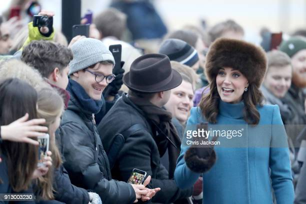 Catherine Duchess of Cambridge talks to members of the public as she exits the Royal Palace on her way to visit the Princess Ingrid Alexandra...