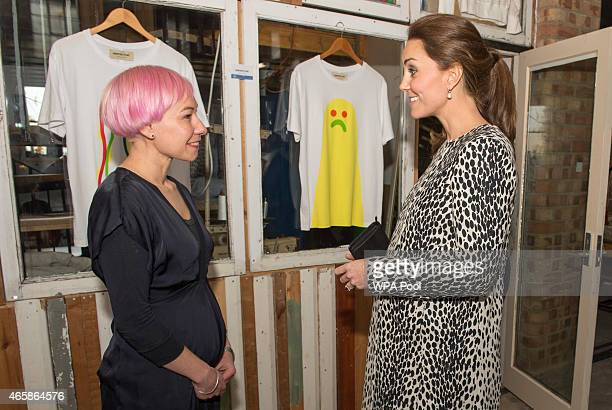 Catherine Duchess of Cambridge talks to pregnant artist Hedi Plant during her visit to Resort Studios in Cliftonville on March 11 2015 in Margate...