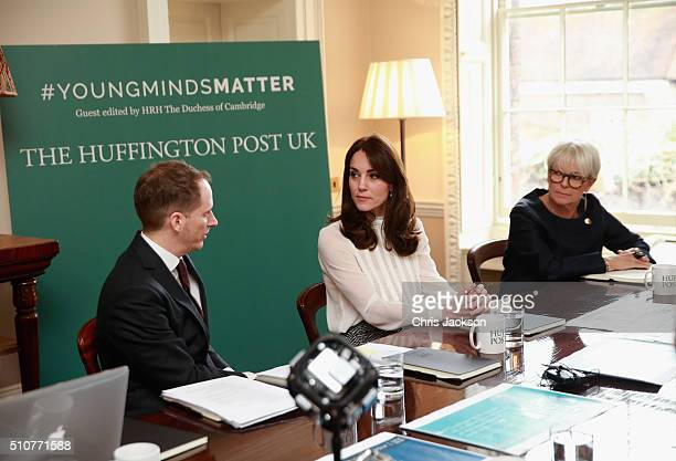 Catherine Duchess of Cambridge talks to Steven Hull in the 'News Room' at Kensington Palace on February 17 2016 in London England The Duchess of...