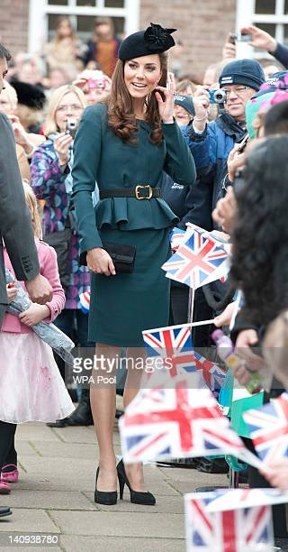 Catherine Duchess of Cambridge talks to the crowed during a visit to Leicester Cathedral on March 8 2012 in Leicester England The royal visit to...