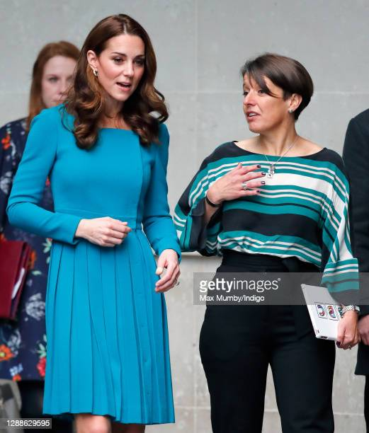 Catherine, Duchess of Cambridge talks with Alice Webb as she visits The BBC to view the work the broadcaster is doing as a key member of The Duke of...
