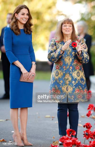 Catherine, Duchess of Cambridge talks with Diane Lees as she visits the Imperial War Museum to view family letters from World War One on October 31,...