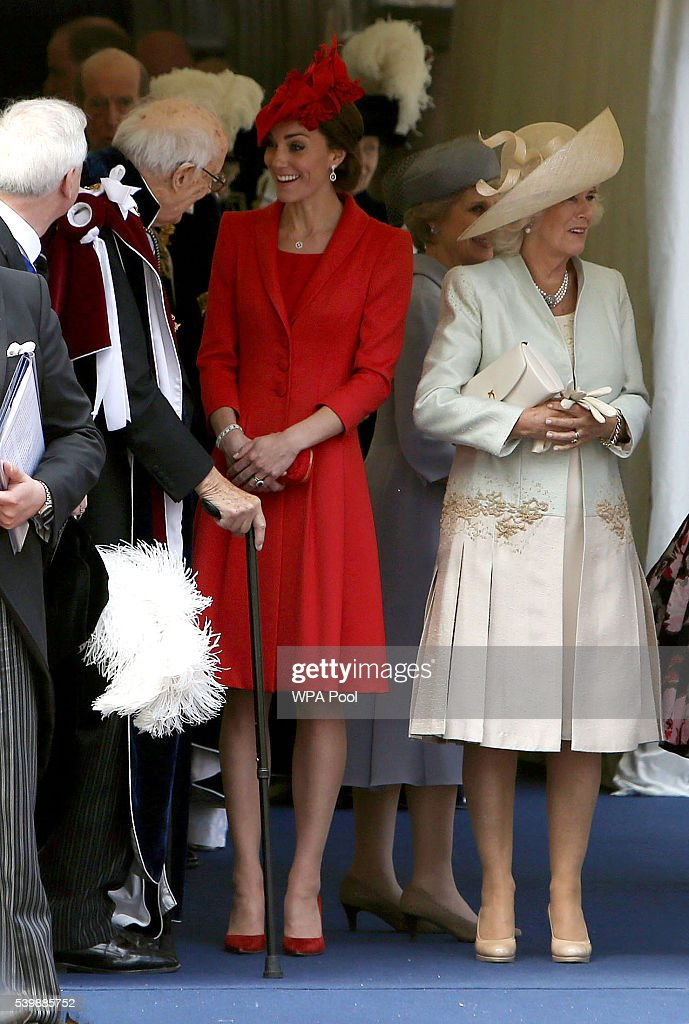 Catherine, Duchess of Cambridge talks with Lord Ashburton next to Camilla, Duchess of Cornwall as they leave the annual Order of The Garter Service at St George's Chapel, Windsor Castle on June 13, 2016 in Windsor, England.