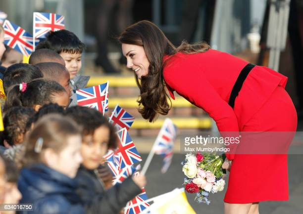 Catherine Duchess of Cambridge talks with school children as she attends the Place2Be Big Assembly with Heads Together for Children's Mental Health...