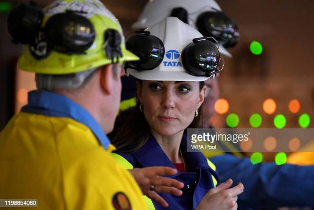 Catherine Duchess of Cambridge talks with Works Manager Carl Banfield at the control centre during a visit to Tata Steel on February 04 2020 in Port...