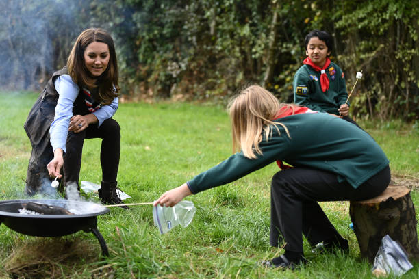 GBR: The Duchess Of Cambridge Visits Scouts Group