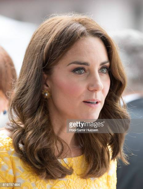 Catherine Duchess of Cambridge tours a traditional German market in the Central Square during an official visit to Poland and Germany on July 20 2017...