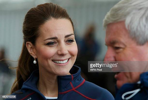 Catherine Duchess of Cambridge tours the base of Emirates Team New Zealand as she attends the America's Cup World Series event on July 26 2015 in...