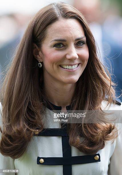 Catherine Duchess Of Cambridge tours the of the restored WWII Codebreaking Huts at Bletchley Park on June 18 2014 in Bletchley England The...