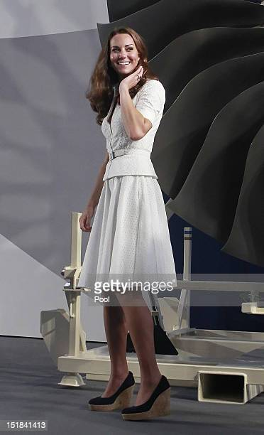 Catherine Duchess of Cambridge tours the RollsRoyce Seletar Campus during the Diamond Jubilee tour at Seletar Aerospace Park on September 12 2012 in...