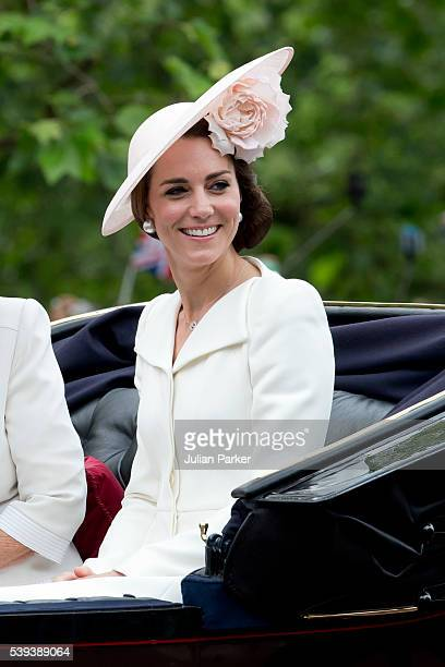 Catherine, Duchess of Cambridge, travels by carriage along The Mall to the annual Trooping The Colour ceremony at Horse Guards Parade on June 11,...