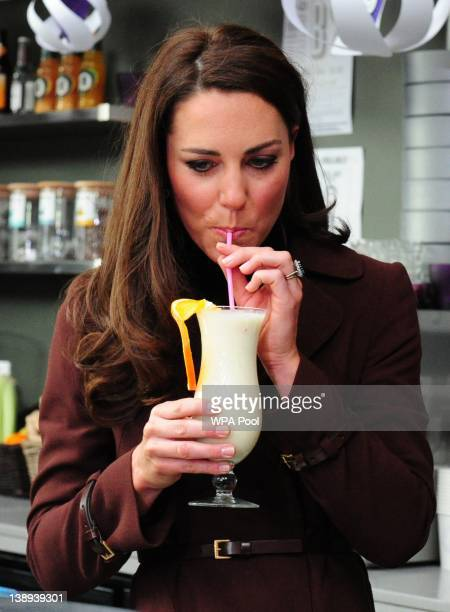 Catherine, Duchess of Cambridge tries a smoothie called the 'Duchess'at the Brink Bar, The Brink is an alcohol-free bar which is a social enterprise...