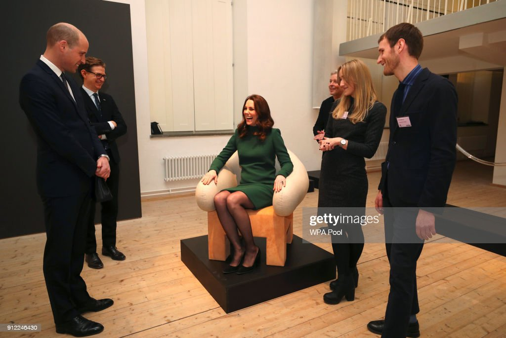 Catherine, Duchess of Cambridge tries out a chair as she visit the ArkDes museum during day one of her Royal visit to Sweden and Norway with Prince William, Duke of Cambridge on January 30, 2018 in Stockholm, Sweden.