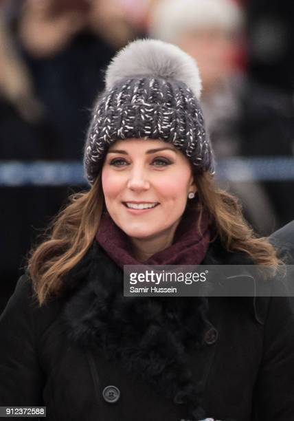 Catherine Duchess of Cambridge ttends a Bandy hockey match with Prince William Duke of Cambridge where they will learn more about the popularity of...