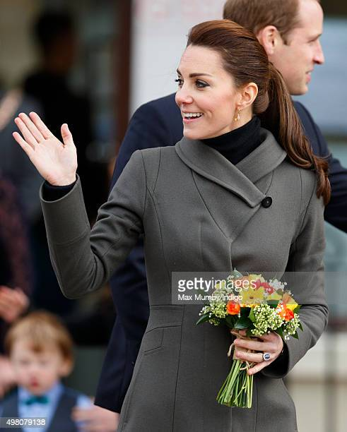 Catherine Duchess of Cambridge undertakes a walkabout in Castle Square Caernarfon during a day of engagements in North Wales on November 20 2015 in...