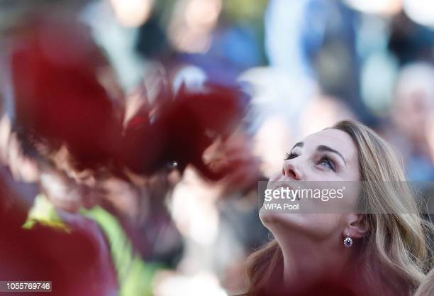 Catherine Duchess of Cambridge views the Remembrance poppy sculptures before she tours the First World War Galleries while on a visit to the Imperial...