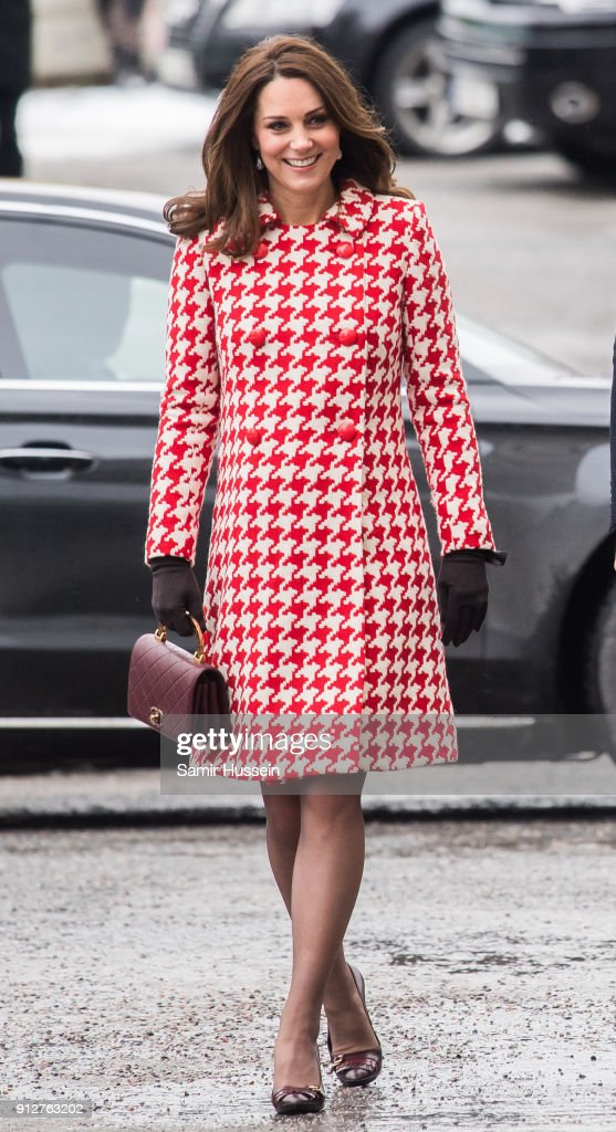 Catherine, Duchess of Cambridge visit sthe Karolinska Institute to meet with academics and practitioners to discuss Sweden's approach to managing mental health challenges during day two of their Royal visit to Sweden and Norway on January 31, 2018 in Stockholm, Sweden.