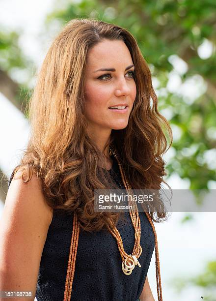 Catherine Duchess of Cambridge visit Tuvanipupu Island on their Diamond Jubilee tour of the Far East on September 17 2012 in Honiara Guadalcanal...