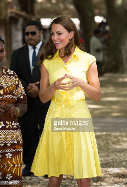 Catherine Duchess of Cambridge visits a cultural village on the Royal couple's Diamond Jubilee tour of the Far East on September 17 2012 in Honiara...