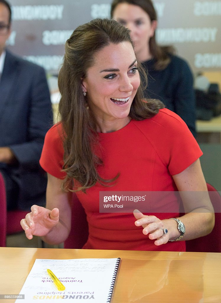 Catherine, Duchess of Cambridge visits a helpline service run by one of the eight charity partners of Heads Together on August 25, 2016 in London, England.