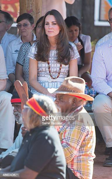 Catherine Duchess of Cambridge visits a local cultural centre at Uluru on April 22 2014 in Ayers Rock Australia The Duke and Duchess of Cambridge are...