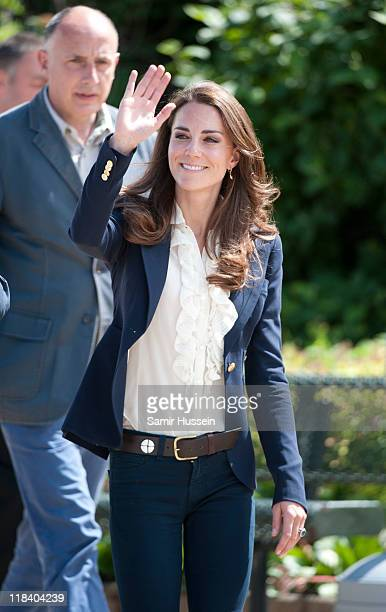 Catherine Duchess of Cambridge visits a part of town devastated by a fire in May 2011 on July 7 2011 in Slave Lake Alberta