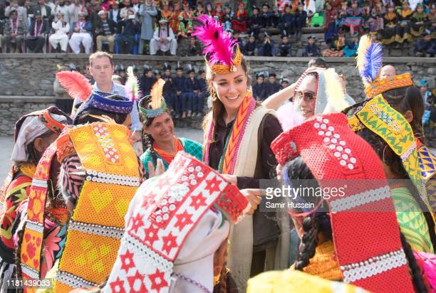 Catherine Duchess of Cambridge visits a settlement of the Kalash people to learn more about their culture and unique heritage on October 16 2019 in...