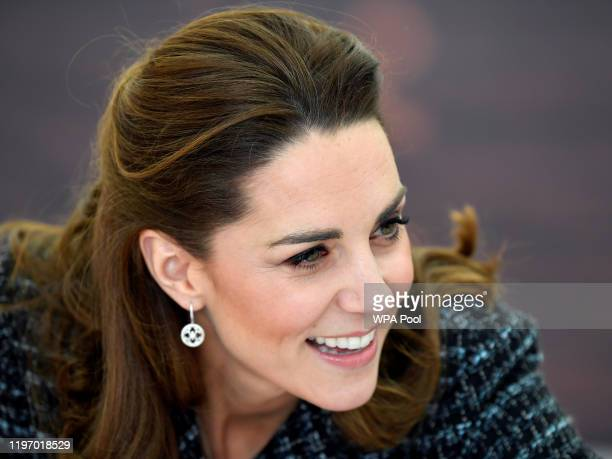 Catherine, Duchess of Cambridge visits a workshop run by the National Portrait Gallery's Hospital Programme at Evelina Children's Hospital on January...