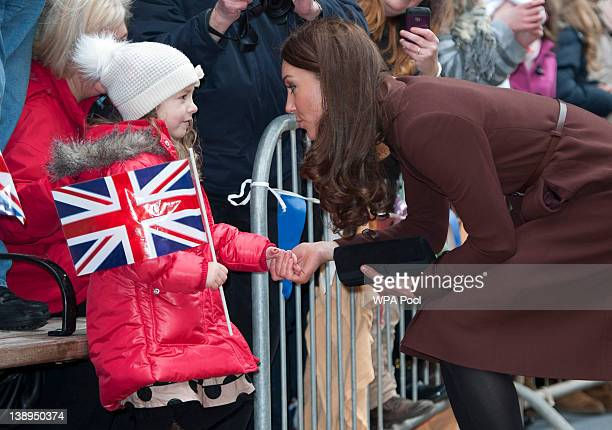 Catherine Duchess of Cambridge visits Alder Hey Children's Hospital on February 14 2012 in Liverpool England The Duchess of Cambridge is in Liverpool...