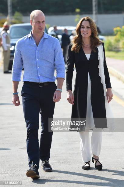 Catherine Duchess of Cambridge visits an Army Canine Centre with Prince William Duke of Cambridge where the UK provides support to a programme that...