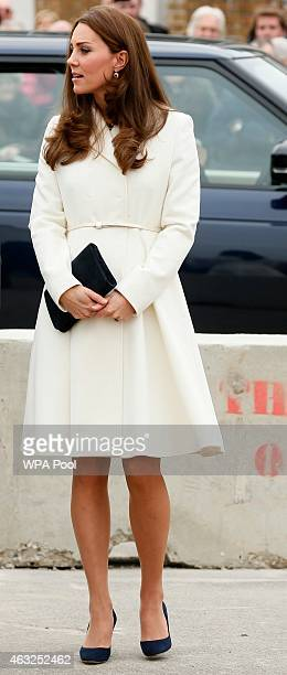 Catherine Duchess of Cambridge visits an art project at the construction site of the new Ben Ainslie Racing headquarters and Visitor Centre on...