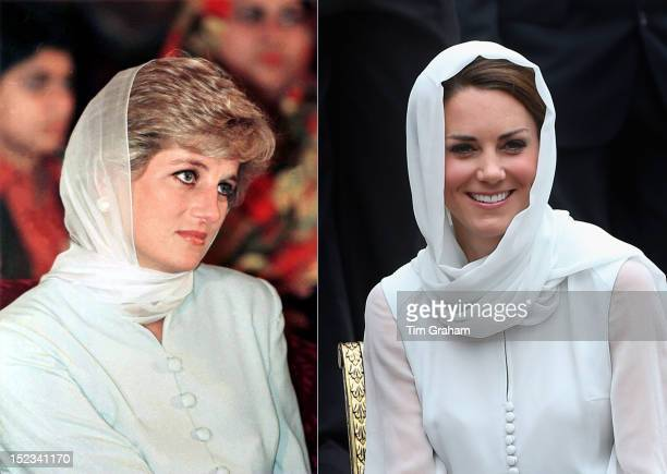 In this composite image a comparison has been made between Princess Diana and Catherine Duchess of Cambridge Catherine donned a headscarf and outfit...