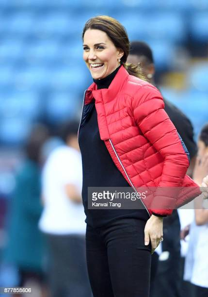 Catherine Duchess of Cambridge visits Aston Villa Football Club to see the work of the Coach Core programme taking place in Birmingham on November 22...