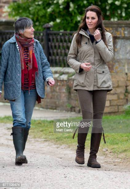 Catherine Duchess of Cambridge visits Author Michael Morpurgo's Farms for City Children on May 3 2017 in Arlingham Gloucestershire Farms for City...