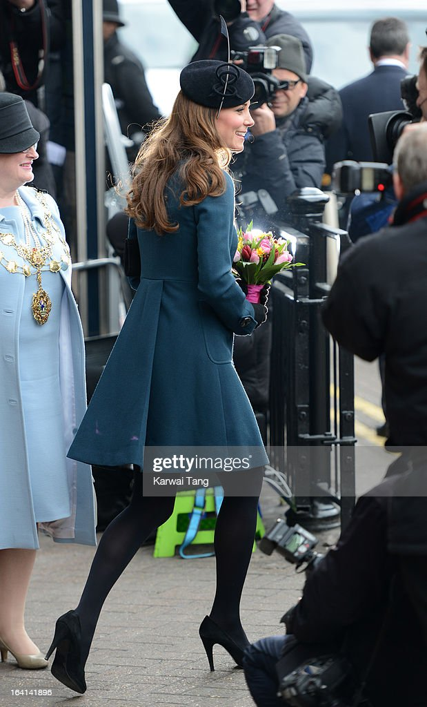 Catherine, Duchess of Cambridge visits Baker Street Underground Station to mark the 150th anniversary of the London Underground on March 20, 2013 in London, England.