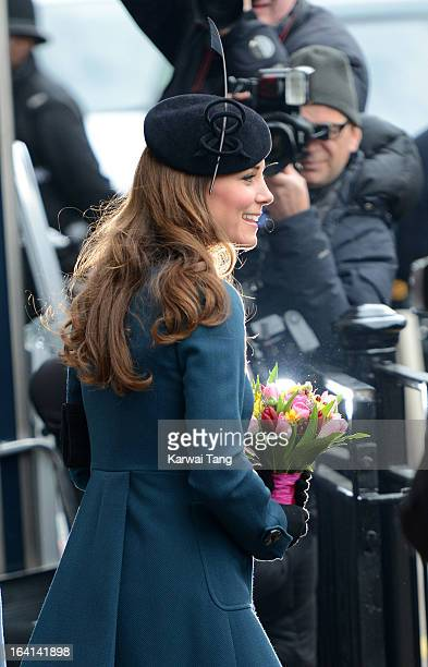Catherine Duchess of Cambridge visits Baker Street Underground Station to mark the 150th anniversary of the London Underground on March 20 2013 in...