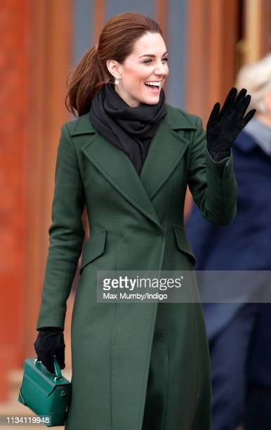 Catherine, Duchess of Cambridge visits Blackpool Tower and greets members of the public on the Comedy Carpet on March 6, 2019 in Blackpool, England.